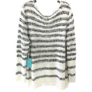 Caribbean Joe Sweater Womens Plus Size White Gray